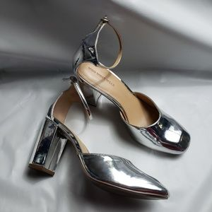 Shoes - Who What Wear Silver Chunky Heel Shoe
